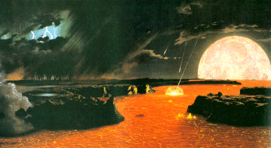 Artist rendering of Earth two billion years ago (Credit: Chesley K. Bonestell)